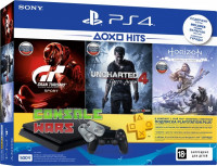 PS4 500 ГБ + Horizon + игра Gran Turismo + Uncharted 4 + PS Plus 3 месяца