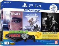 PS4 Slim (1TB) Black + Horizon Zero Dawn + Detroit + Lust of Us + PS Plus 3 месяца