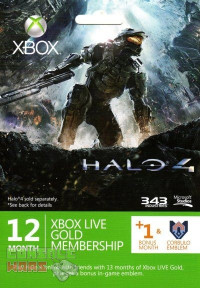 Xbox LIVE 12 + 1 Month + Corbulo Emblem Gold Subscription Card